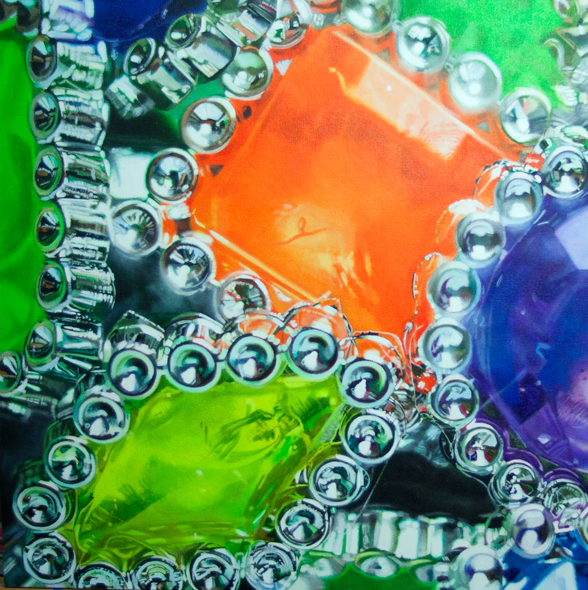 painting of plastic party rings by LJ Lindhurst