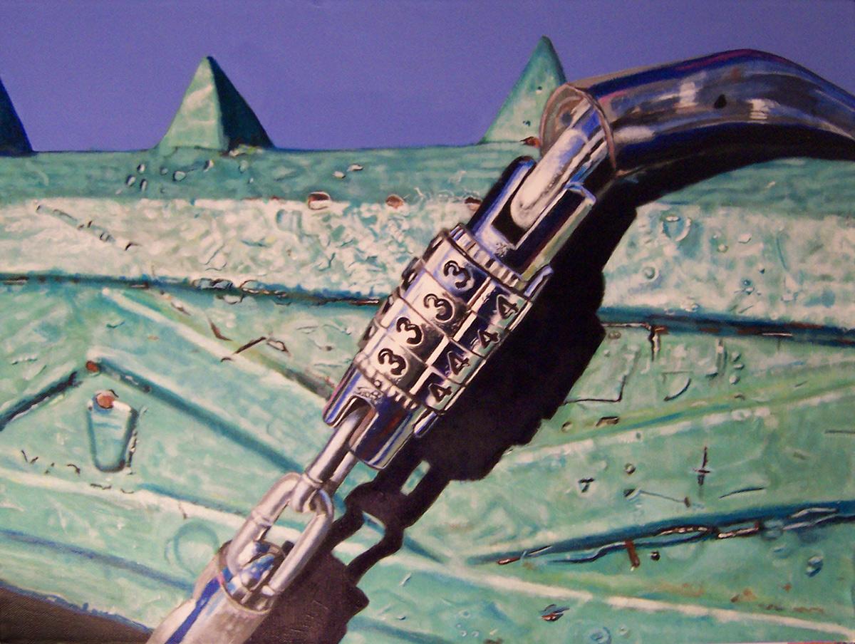 bicycle lock painting by LJ Lindhurst