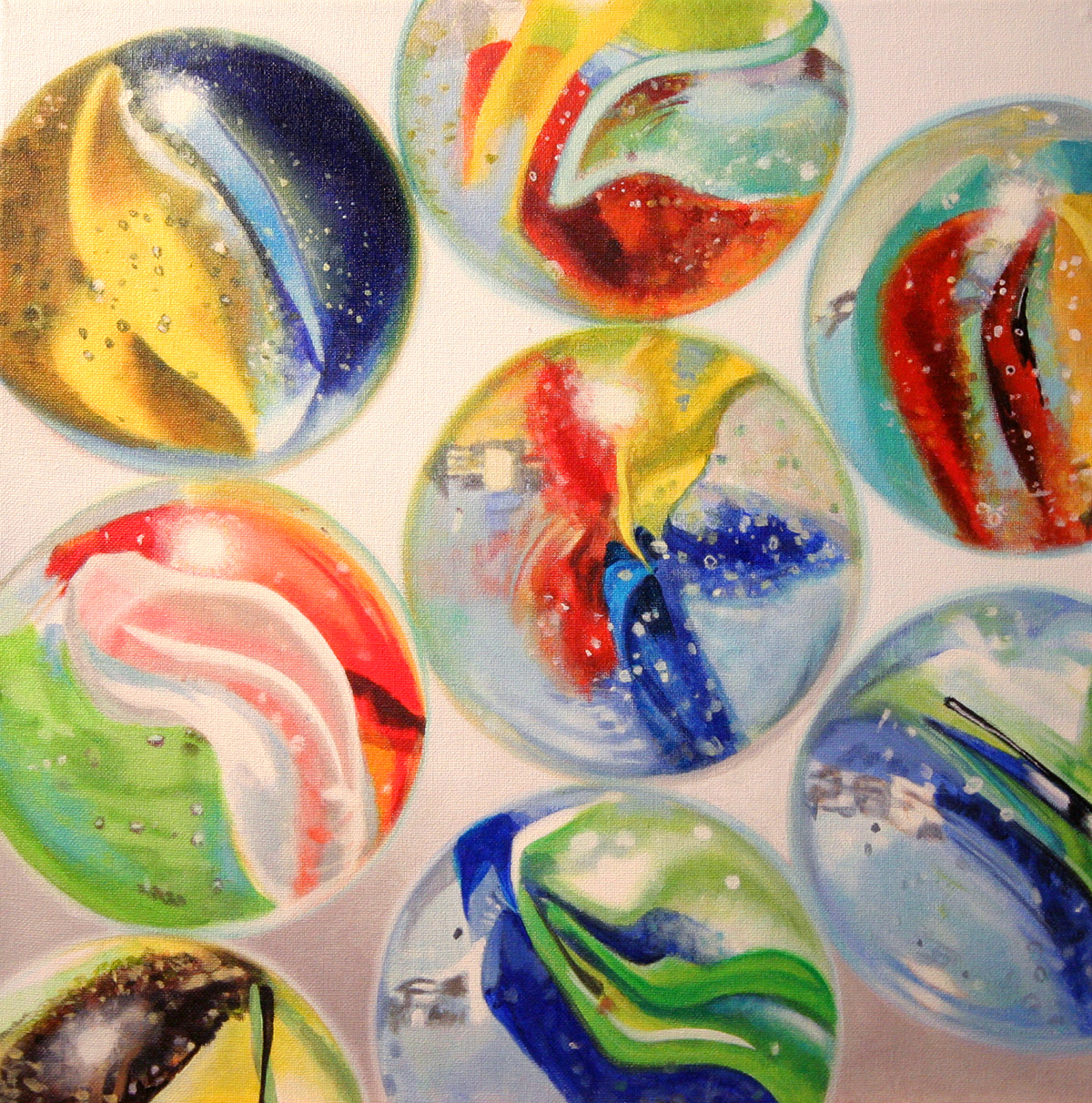 Marbles--painting by LJ Lindhurst