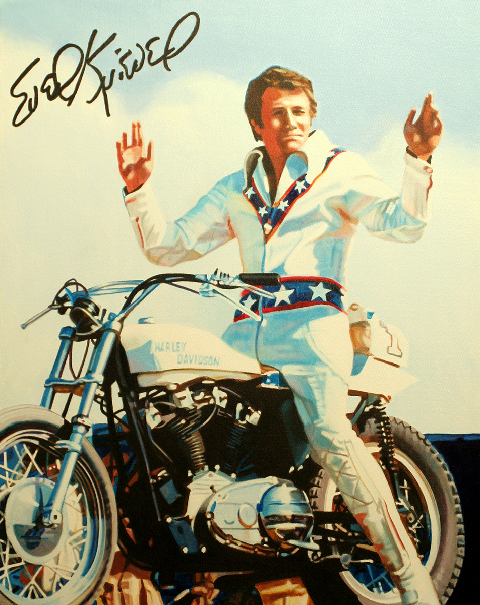 Evel Knievel painting by LJ Lindhurst