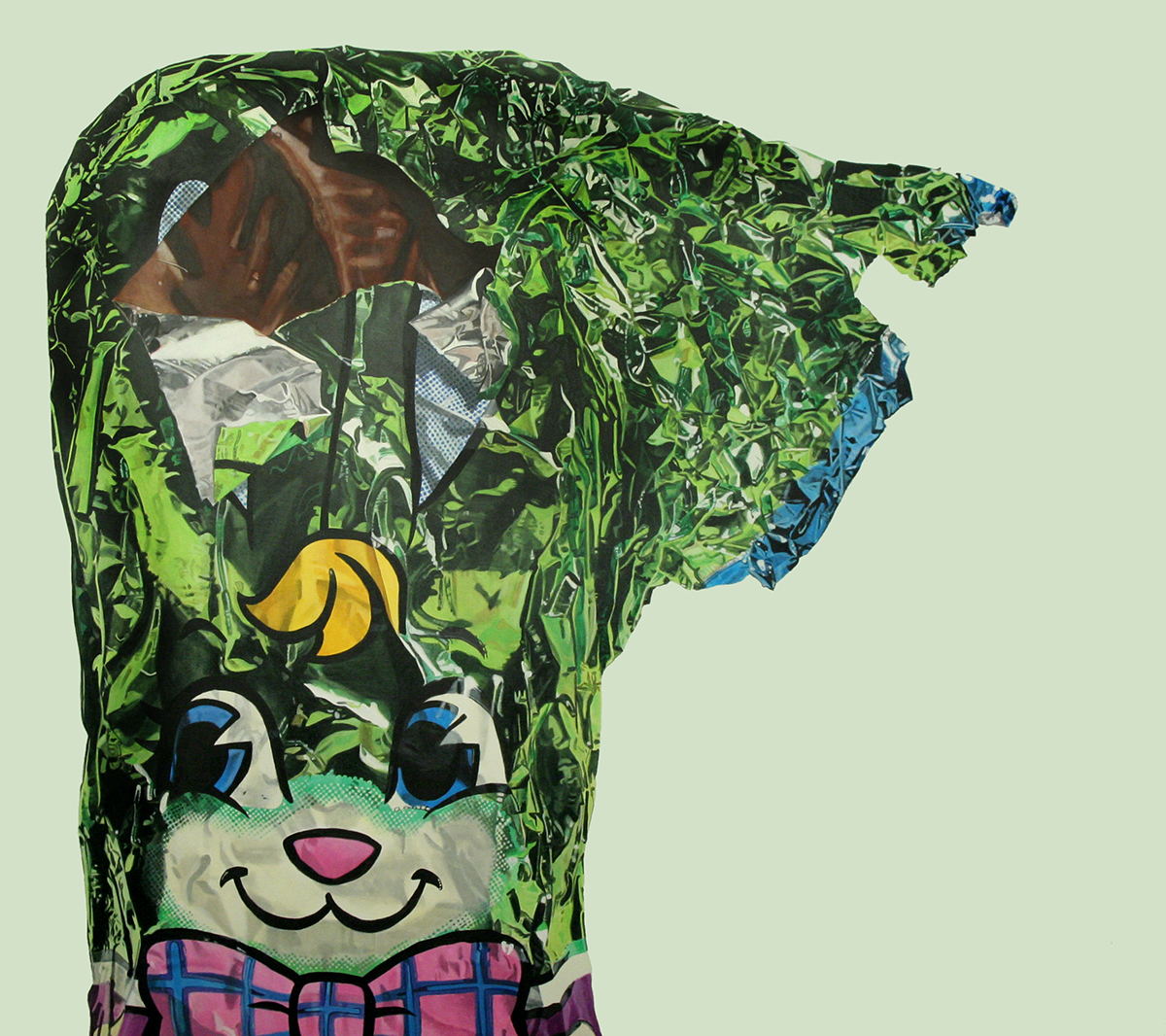 Green Foil Bunny--painting by LJ Lindhurst