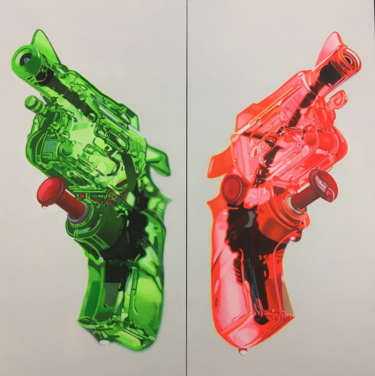 Diptych: Green & Orange Squirtguns