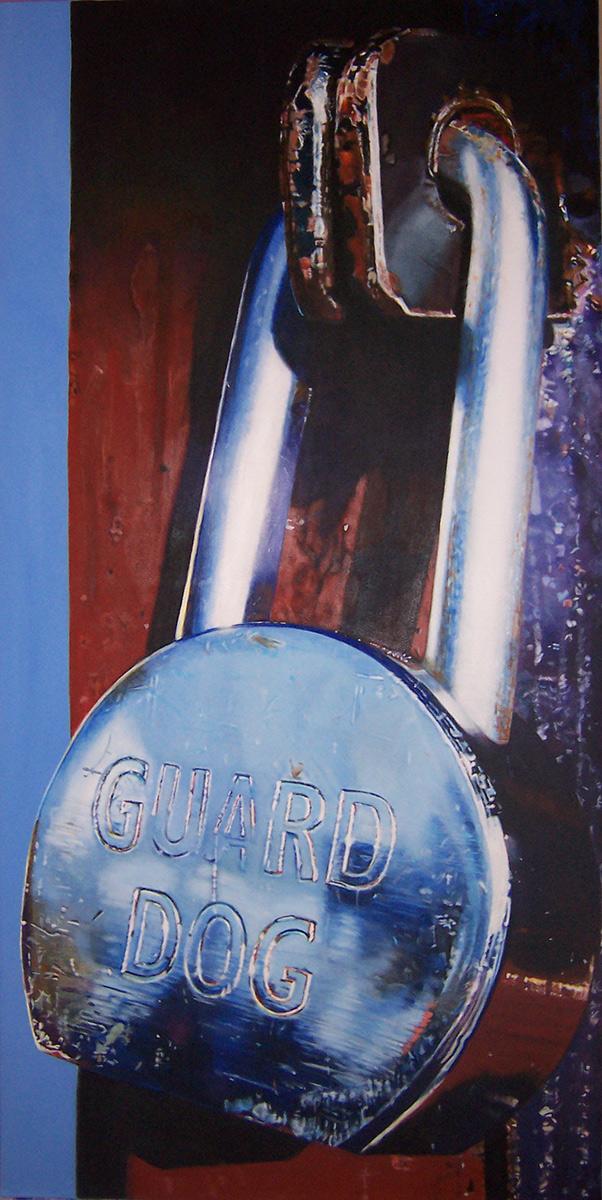 guard dog lock painting by LJ Lindhurst