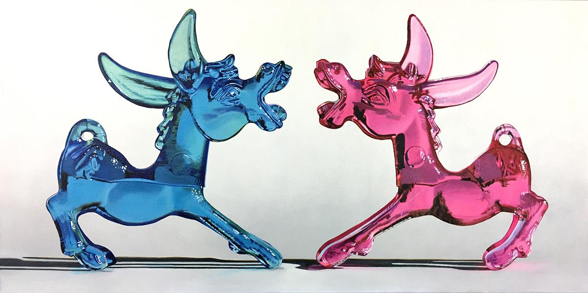 margarita donkeys painting by LJ Lindhurst