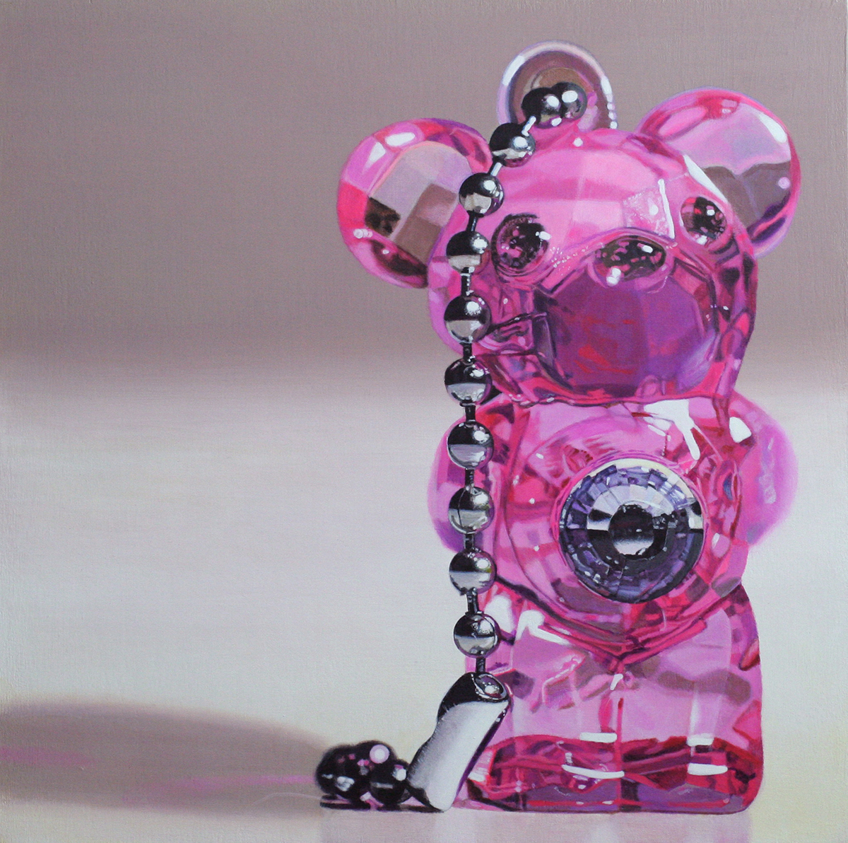 pink plastic bear toy painting by LJ Lindhurst