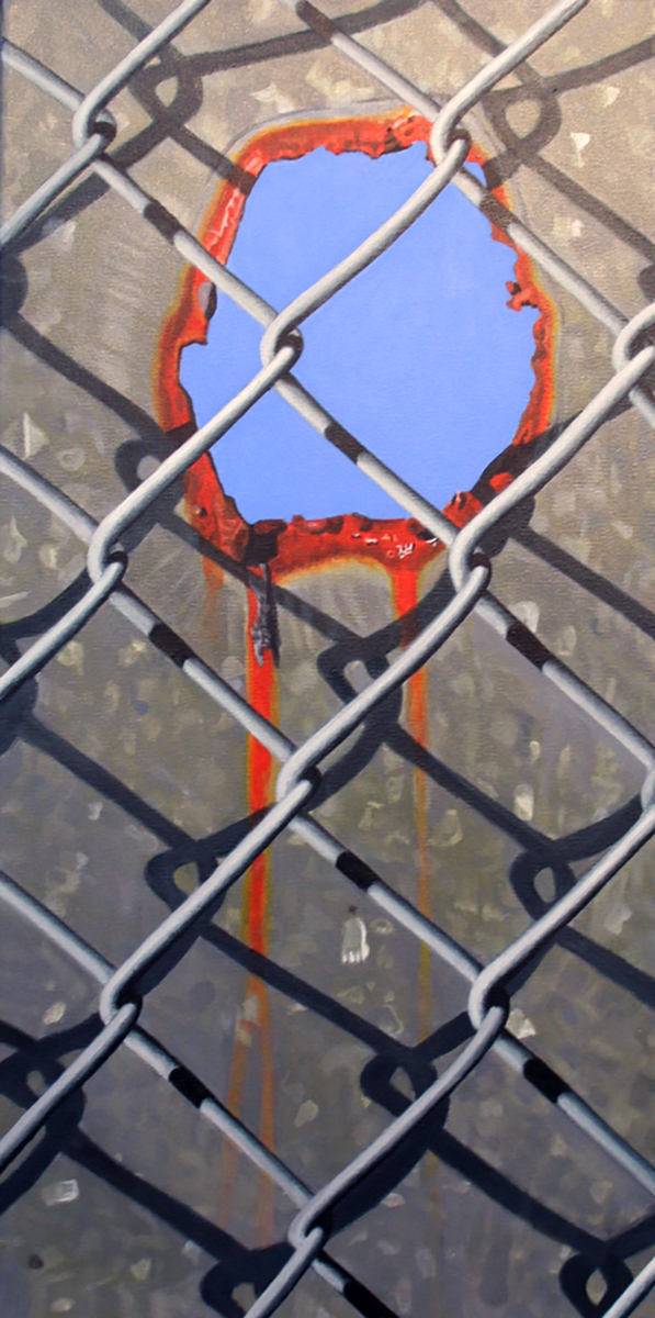 rusty hole painting by LJ Lindhurst