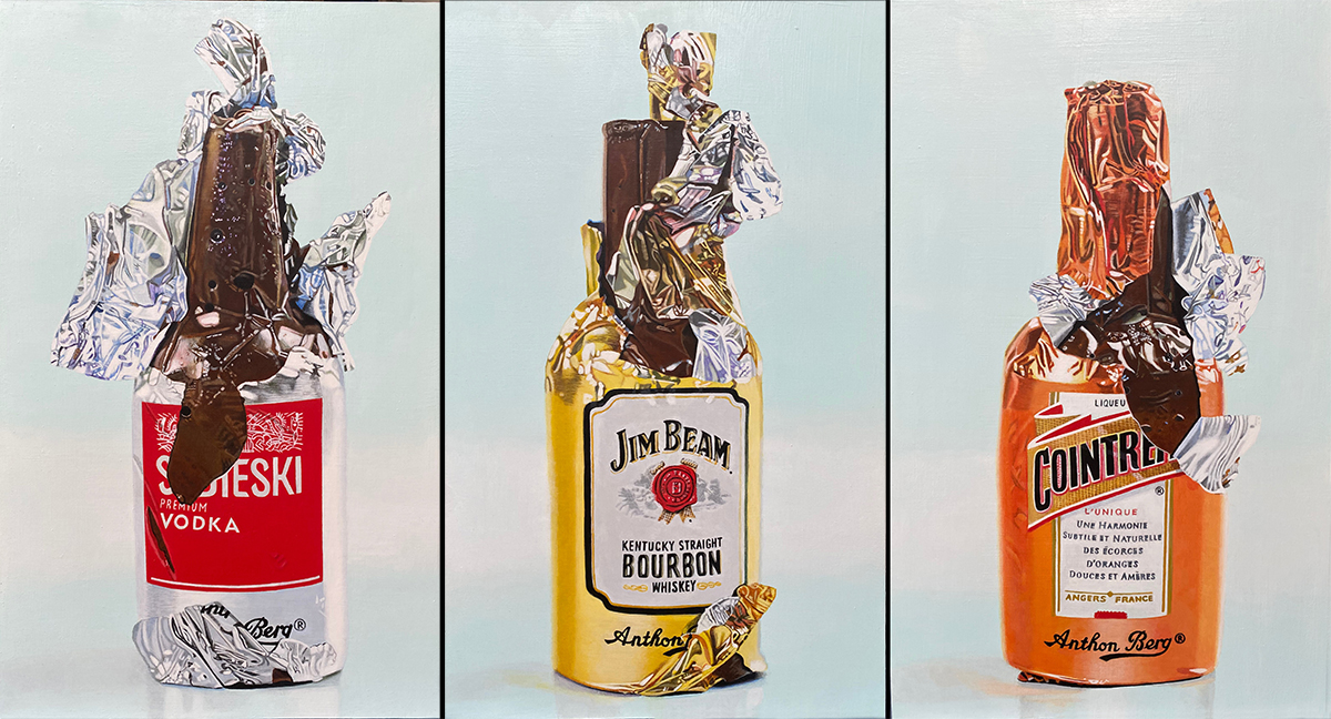 3 chocolate liquor bottles by LJ Lindhurst